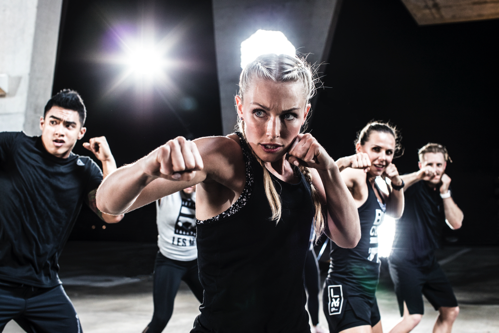 woman training in fighting
